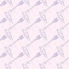 Seamless pattern with arrows and crystals