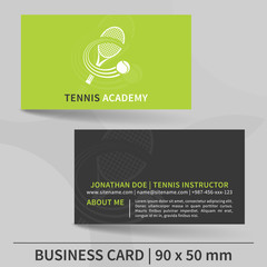 Business card template for tennis instructor. Vector design.