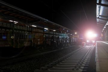 Gleisarbeiten bei Nacht