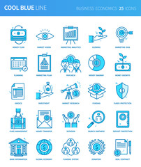Modern thin line icons set of business economics. Premium quality outline symbol set. Simple linear pictogram pack. Editable line series