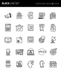 Modern thin black line icons set of advertising media. Premium quality outline symbol set. Simple linear pictogram pack. Editable line series