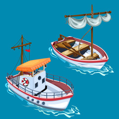 Modern motorboat and sailing wooden boat on the water. Vector image in cartoon style for your design needs