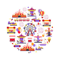 Amusement park icon set in circle shape