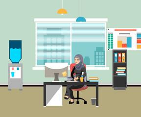 Arabic Businesswoman working on computer.