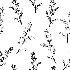 Abstract botanical seamless pattern. Vector herbal background.