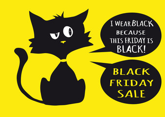 Black friday sale poster with black cat on yellow background a two bubble labels with text