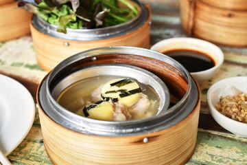 yumcha, dim sum in bamboo steamer,