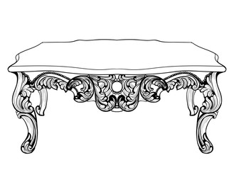 Imperial Baroque Console Table. French Luxury carved ornaments decorated table furniture. Vector Victorian Royal Style