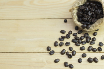 Coffee bean on wooden. copy space
