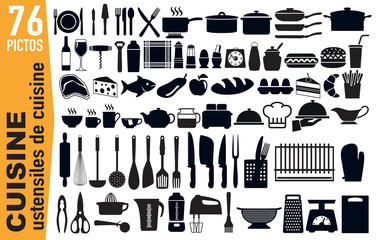 icône - cuisine - ustensile - cuisiner - matériel -cuisinier - pictogramme - alimentation