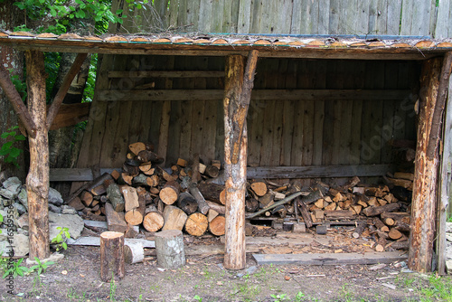 Storage For Wood Logs In The Village.