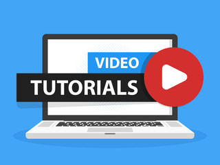 Online video tutorials education button in Laptop notebook computer screen. Play lesson concept. Vector illustration