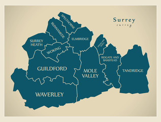 Modern Map - Surrey county with district captions England UK illustration
