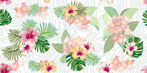Seamless vector pattern with palm leaves.