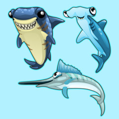 Shark, hammerhead and swordfish on blue background. Vector series of exotic fish characters