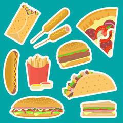 Bright vector fastfood stickers set including hamburger, pizza, sandwich, taco, hotdog, corndog on blue background. Tasty flat cartoon colorful fast food symbols for cafe, bar, restaurant menu design.