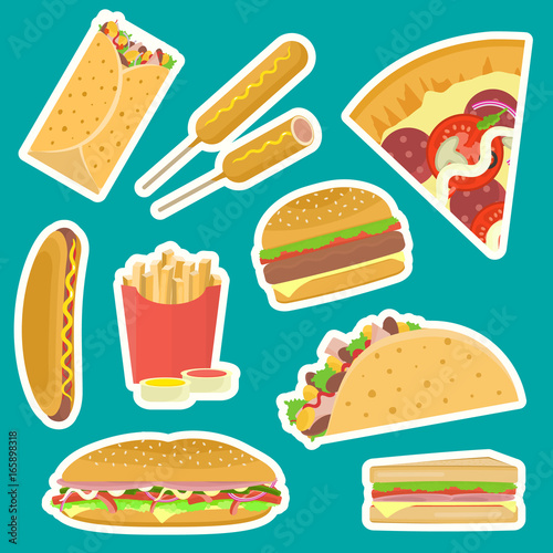 Bright Vector Fastfood Stickers Set Including Hamburger Pizza