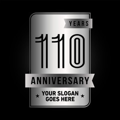 110 years anniversary design template. Vector and illustration.