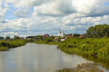 Poster Channel Панорама Камышлова, река Пышма и собор Покрова Святой Богородицы