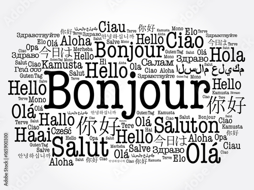 Bonjour hello greeting in french word cloud in different languages bonjour hello greeting in french word cloud in different languages of the world m4hsunfo