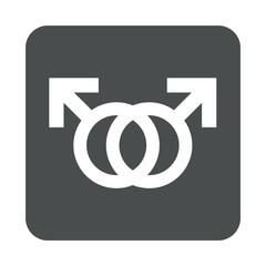 Icono plano homosexualidad en cuadrado gris