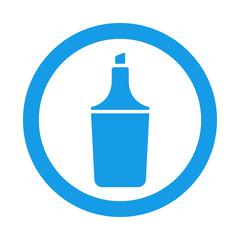 Icono plano rotulador fluorescente en circulo color azul