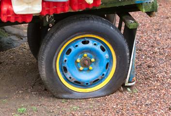 Flat rear tire