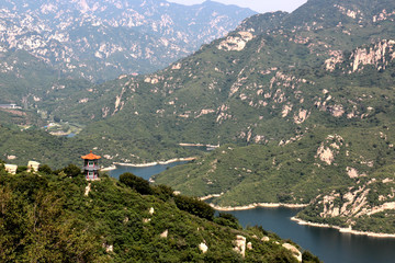 panoramic view of Chinese temple on the hills of Qinglongxia, Beijing