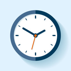 Clock icon in flat style, timer on blue background. Business watch. Vector design element for you project