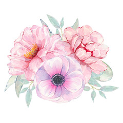 Watercolor hand painted flower pink anemone and peony bouquet isolated on white background