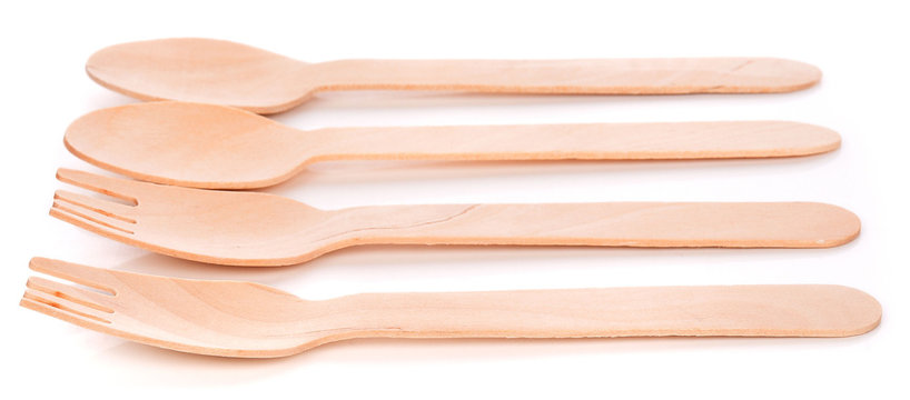 wooden cutlery utensil (fork, spoon) on isolated white background