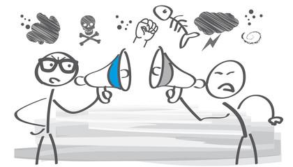 Konfrontation - zwei Strichmännchen streiten miteinander