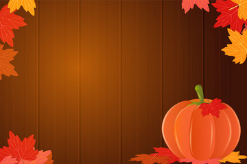 Hello autumn. banner with colorful autumn leaves, pumpkins. Vector. Wooden background. Place for your text.