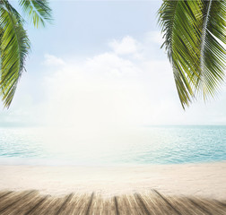 summer beach and ocean horizon with tropical palm leaves 3d rendering