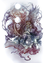 Esoteric hand drawn tattoo illustration of a mythological demon creature