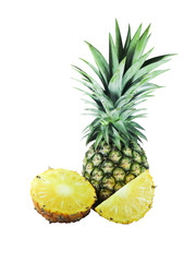 pineapple with slices isolated on white background with clipping path
