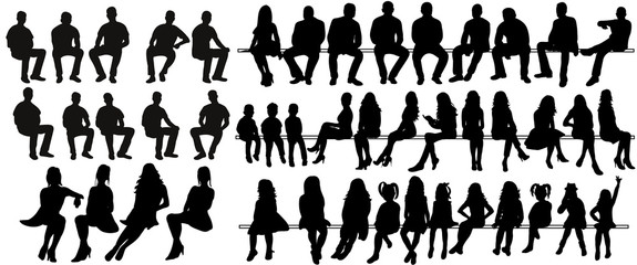 Vector, isolated silhouette of sitting people, large collection, sitting man and girl Wall mural