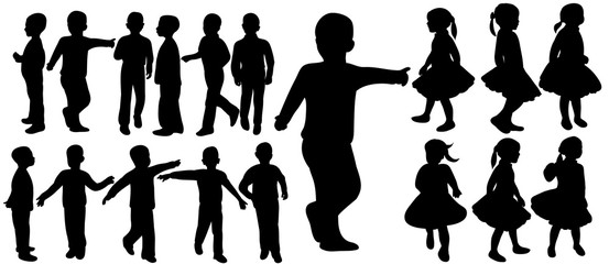 Vector, isolated silhouette children, little girls and boys play, collection