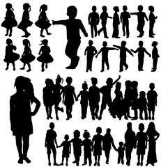 silhouette children, set, group
