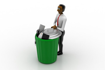 Man with trash box