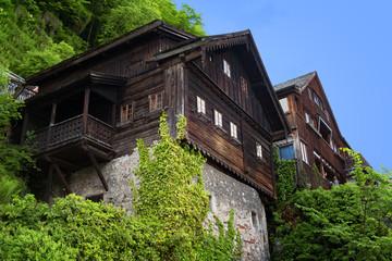 Typical Austrian Alpine houses with bright flowers, Hallstatt, Austria, Europe