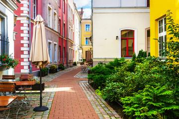 Backyard at historical center in Riga Baltic