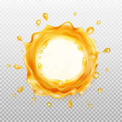 Juice frame. Transparent orange liquid splash. Water, honey, oil, juice, beer, shampoo. Vector illustration.