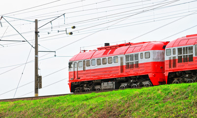 Running train at countryside in Vilnius Baltic