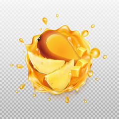 Mango juice with fruit. Realistic splash of juice with mango and slices mango. Fresh fruit. Transparent orange water splash. Vector illustration.
