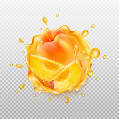 Peach juice. Realistic splash of juice with peach and slices peach. Transparent orange water splash. 3d icon. Vector illustration.