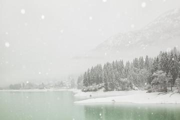 Winter landscape of Barcis village, Friuli Venezia Giulia, Italy, Europe