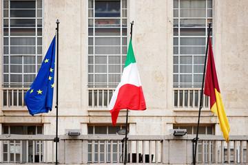 Italian Rome Commune and EU flag