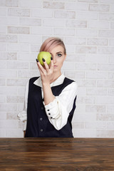 beauty young woman with apple fruit