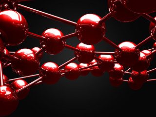 Abstract Red Shiny Spheres Background